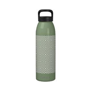 Avocado Green & White Diamonds Pattern Designer Reusable Water Bottles