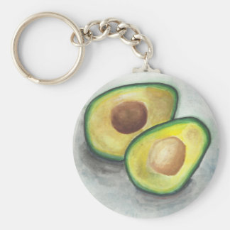 Avocado in Watercolor Basic Round Button Keychain