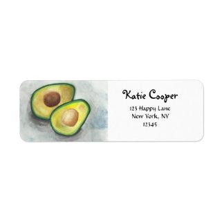 Avocado in Watercolor Label