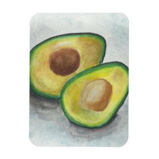 Avocado in Watercolor on a gray Background Rectangular Photo Magnet