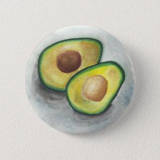 Avocado in Watercolor Pinback Button