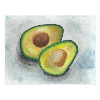 Avocado in Watercolor Postcard