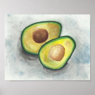 Avocado in Watercolor Poster