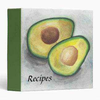 Avocado in Watercolor Recipe 3 Ring Binder