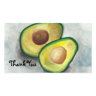 Avocado in Watercolor Thank You Business Card