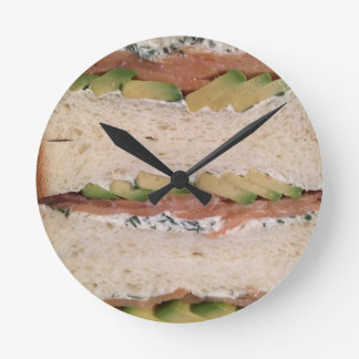 Avocado & Lox sandwich Round Clock