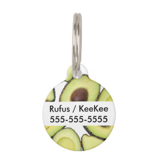 Avocado Pattern Pet Name Tag