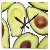 Avocado Pattern Square Wall Clock