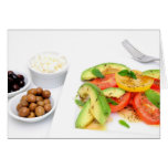 Avocado Salad And Olives Greeting Cards