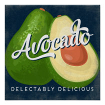 Avocado Vintage Fruit Label Vegetable Poster