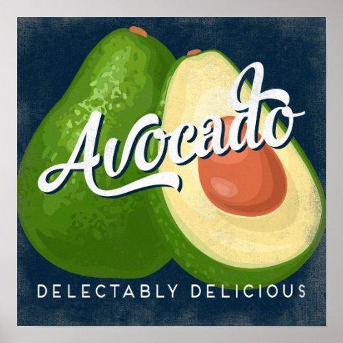 Avocado Vintage Fruit Label Vegetable Poster