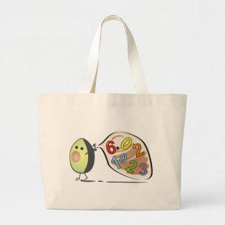 avocados numbers large tote bag