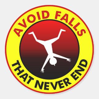 Avoid Falls Warning Classic Round Sticker