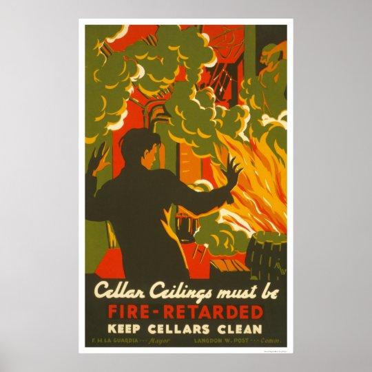 Avoid Fire Clean Cellar 1937 WPA Poster