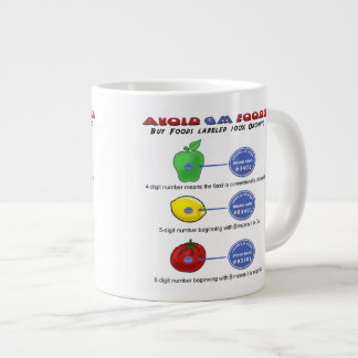 Avoid GM foods avoid 5 digit PLU starting with 8 Large Coffee Mug