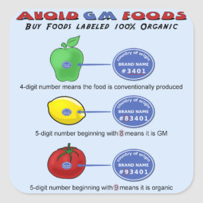 Avoid GM foods avoid 5 digit PLU starting with 8 Square Sticker