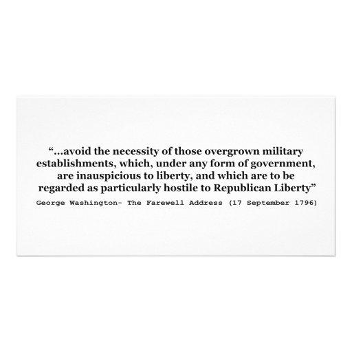Avoid Overgrown Military Establishments Washington Custom Photo Card