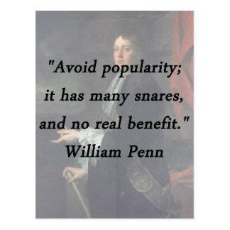 Avoid Popularity - William Penn Postcard