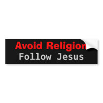 Avoid Religion Follow Jesus Bumper Sticker