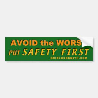 AvoidWorst-SafetyFirst Pegatina De Parachoque