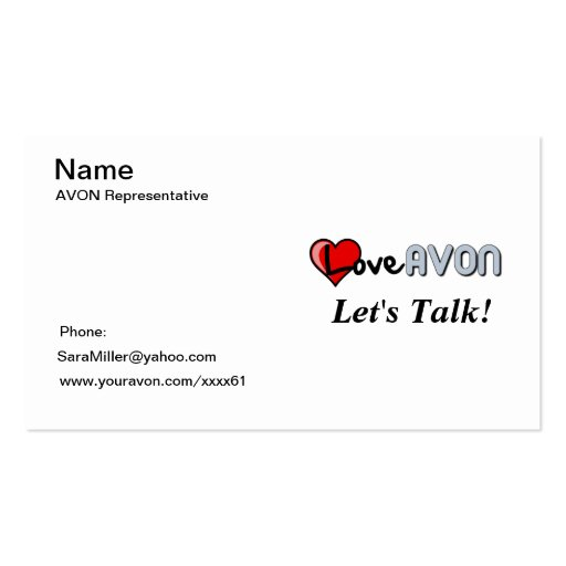 AVON Bussiness Card Double-Sided Standard Business Cards (Pack Of 100 ...