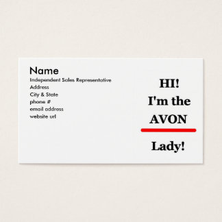 Avon lady business or profile card