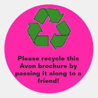 Avon:  Recicle por favor el folleto Pegatinas Redondas