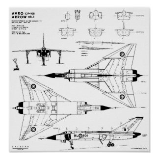Avro Arrow Blueprints Print