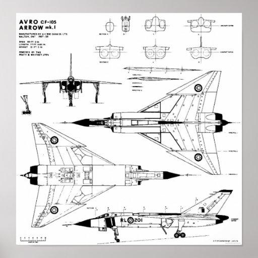 Avro Arrow Blueprints Print Zazzle