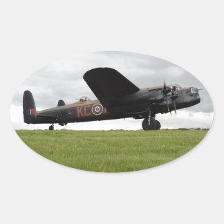 Avro Lancaster On The Field Oval Sticker