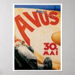 Avus Race Cars Automobile Vintage Ad Art Poster
