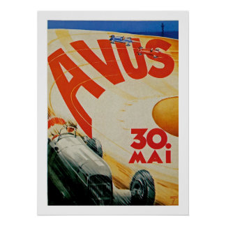 Avus Vintage Auto Race Advertisement Poster