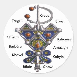 avzim bleu, Amaghir, Rifain, Kabyle, Berbère Classic Round Sticker