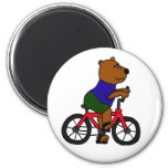 AW- Bear Bicycling Cartoon 2 Inch Round Magnet