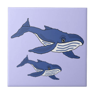AW- Blue Whale Mother and Baby Tile