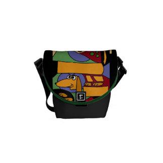 AW- Dachsund Dog Abstract Art Mini Messenger Bag