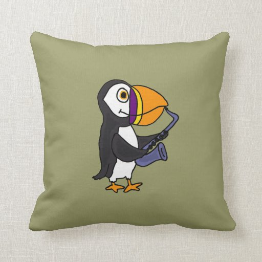 AW- Funny Puffin Playing Saxophone Pillow
