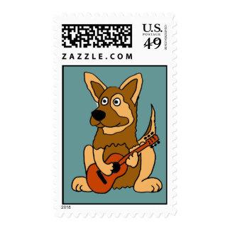 AW- German Shepherd Playing Guitar Postage Stamps