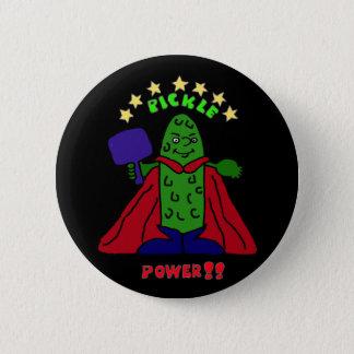 AW- Pickle Power Superhero Pickleball Cartoon Pinback Button
