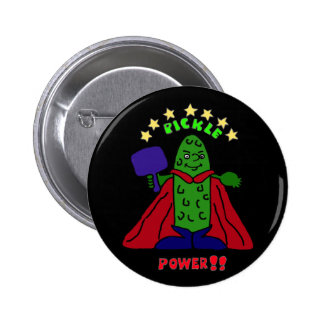AW- Pickle Power Superhero Pickleball Cartoon Pinback Button