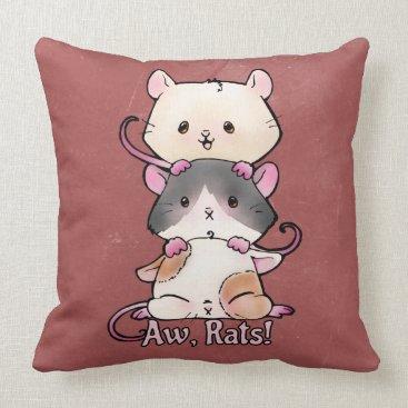 Art Themed Aw, Rats! Throw Pillow