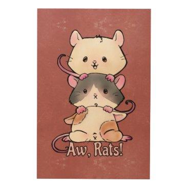 Art Themed Aw, Rats! Wood Print