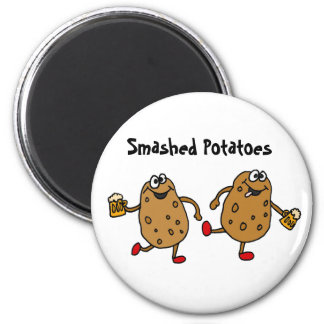 AW- Smashed Potatoes Cartoon 2 Inch Round Magnet