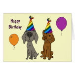 AW Weimaraner y tarjeta de cumpleaños del