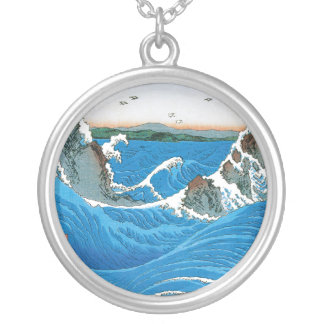 Awa Province, Naruto Whirlpools by Ando Hiroshige Round Pendant Necklace