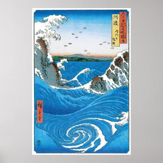 Awa Province, Naruto Whirlpools by Ando Hiroshige Poster