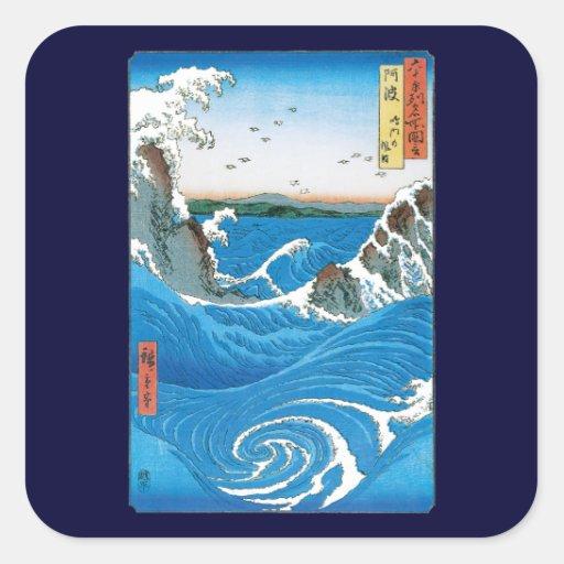 Awa Province, Naruto Whirlpools by Ando Hiroshige Square Sticker