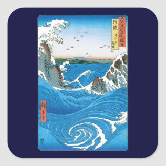Awa Province, Naruto Whirlpools by Ando Hiroshige Square Stickers