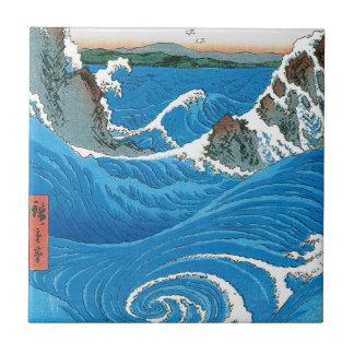 Awa Province, Naruto Whirlpools by Ando Hiroshige Ceramic Tile