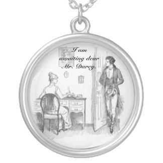 Awaiting Dear Mr. Darcy Round Pendant Necklace